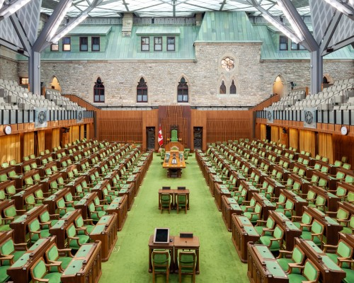 The empty, inside chamber of the House of Commons Canada