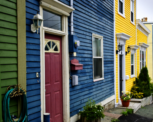 Houses painted in bright colours common in NewFoundland