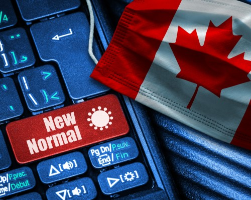 """Keyboard with """"new normal"""" button in Canada's red and white"""