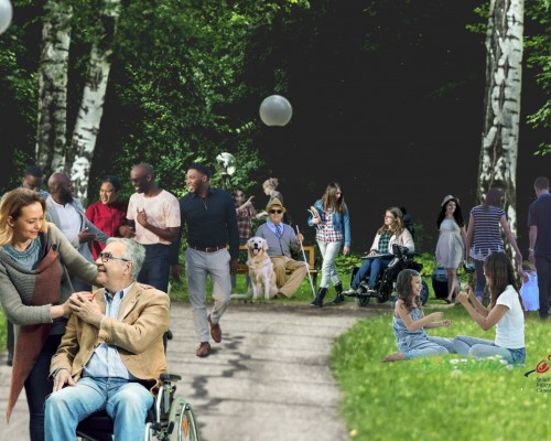 People with and without disabilities in a park setting