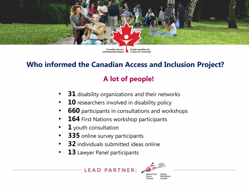 Who informed the Canadian Access and Inclusion Project?
