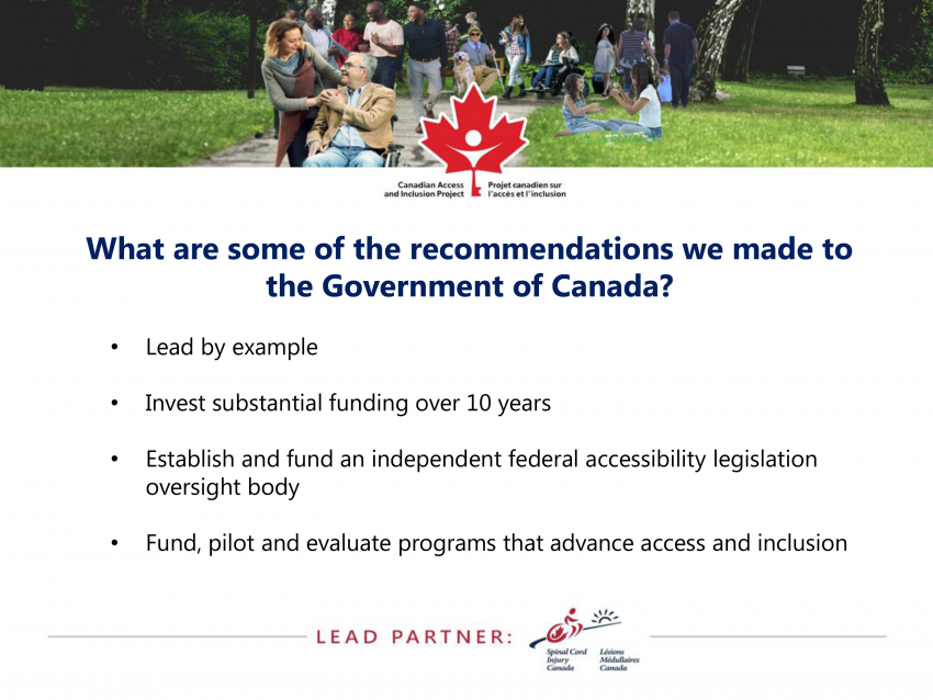What are some of the recommendations we made to the Government of Canada?