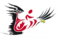 Wheelchair logo overlaying an eagle