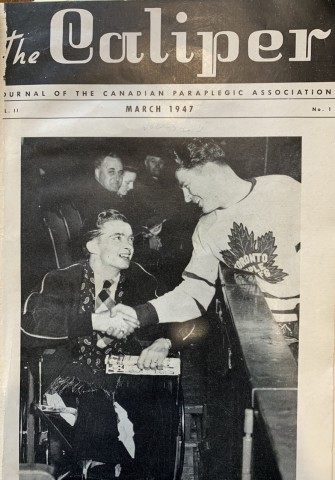 The first issue of Caliper Magazine - A person with a spinal cord injury meets one of the Maple Leafs