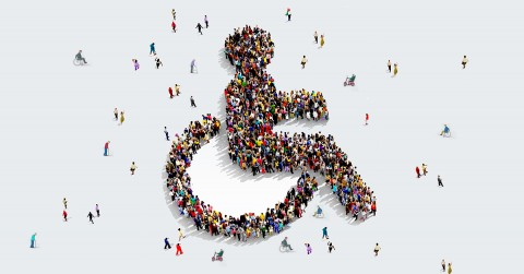 many people coming together to make the symbol of accessibility