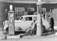 Jimmy Darou pumps gas at his station in Montreal