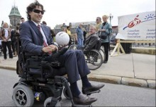 Justin Trudeau uses a power wheelchair in the Chair Leaders event